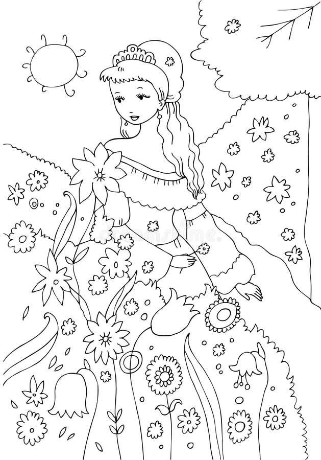 Princesa na página da coloração do jardim ilustração stock