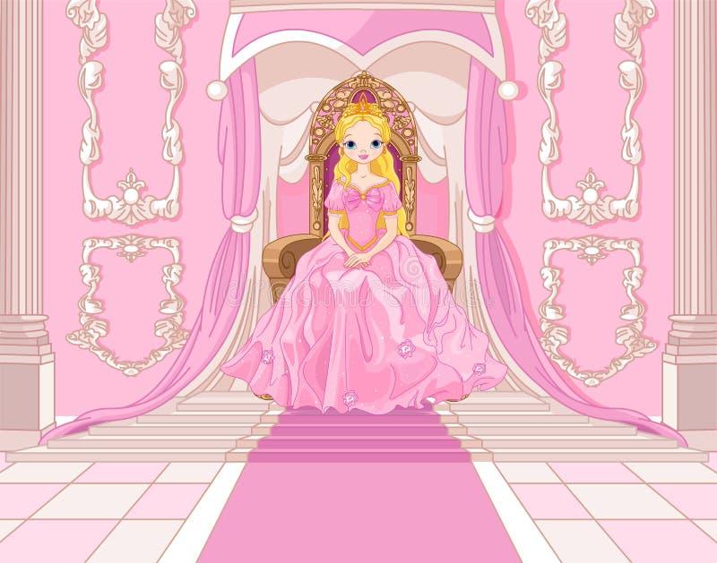 Princesa no trono ilustração royalty free