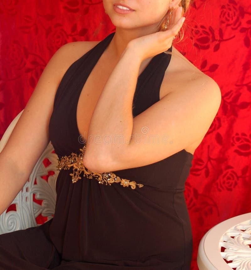 Princesa no veludo vermelho imagens de stock royalty free