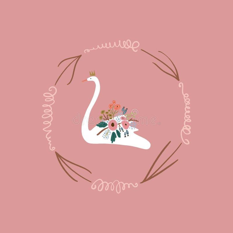 Princesa o reina blanca hermosa del cisne con la corona, decoraci?n rom?ntica del ramo floral Vector libre illustration