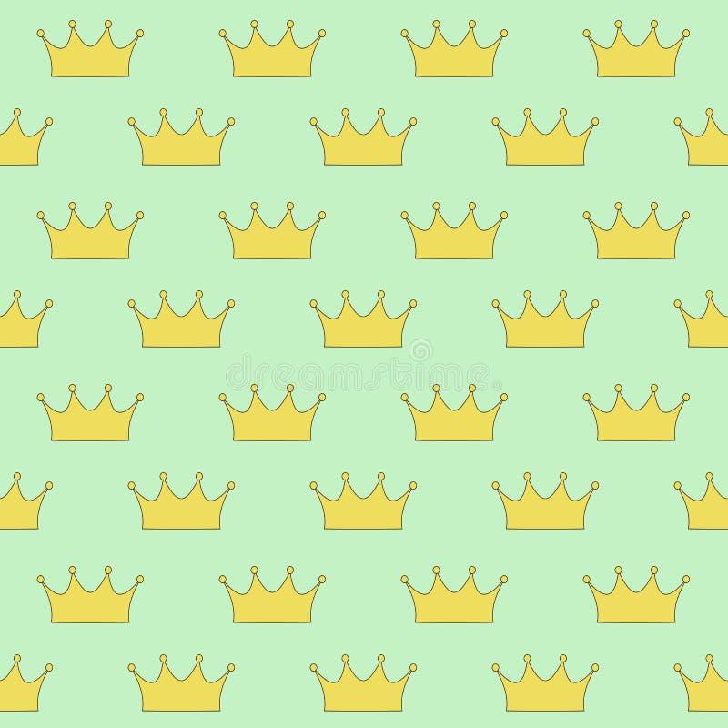 Princesa ou rainha de coroa do ouro na luz - fundo verde sem emenda ilustração stock