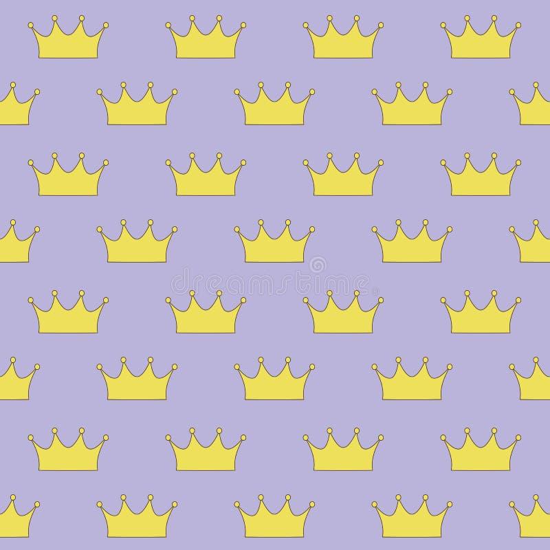 Princesa ou rainha de coroa do ouro no patte sem emenda do fundo roxo ilustração stock