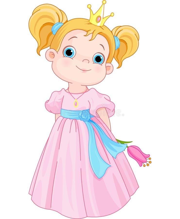 Princesa pequena bonito Holds Flower ilustração royalty free