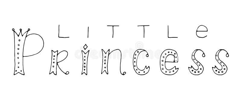 Princesa pequena Citações da rotulação da mão ilustração royalty free