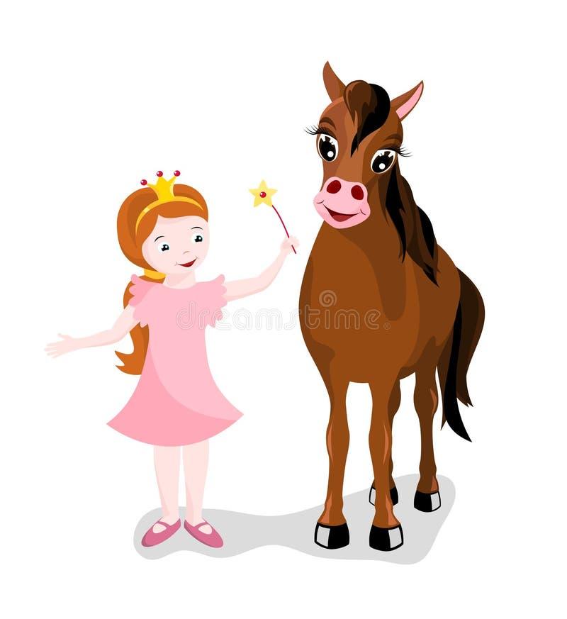 Princesa pequena com seu cavalo ilustração stock