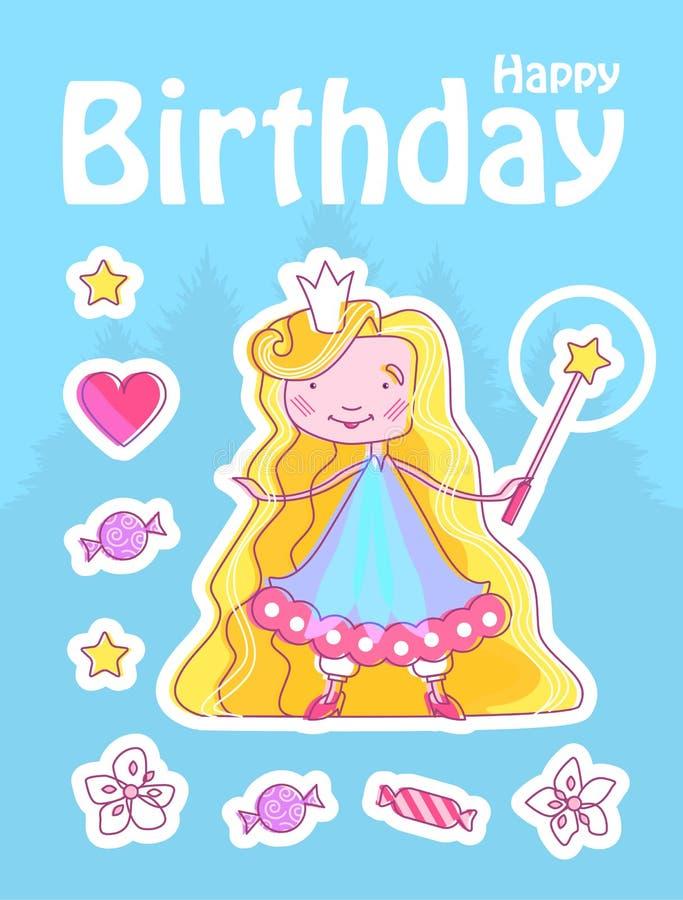 Princesa pequena feliz Birthday Card Template com a menina feericamente com coroa, varinha mágica Flor, estrela, doces e coração  ilustração do vetor