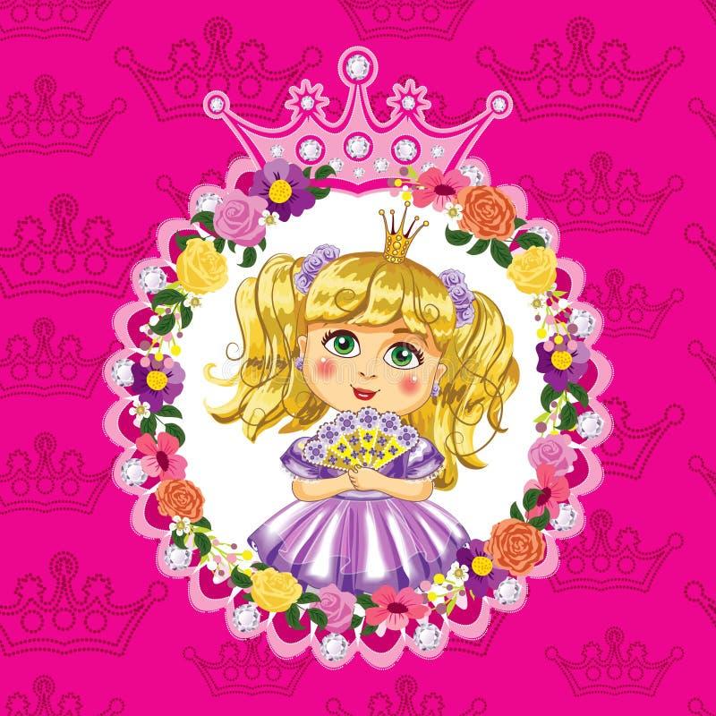 Princesa pequena, louro, em um fundo cor-de-rosa ilustração do vetor