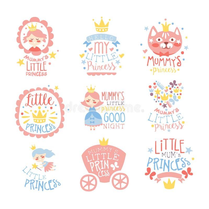 Princesa pequena Set Of Prints para moldes infantis do projeto da sala ou da roupa das meninas na cor cor-de-rosa e azul ilustração stock