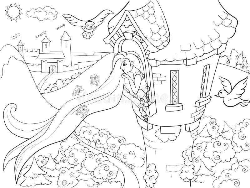Princesa Rapunzel en el colorante de piedra de la torre para el ejemplo del vector de la historieta de los niños stock de ilustración