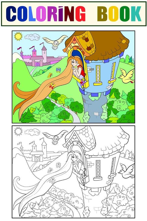 Princesa Rapunzel en el colorante de piedra de la torre para el ejemplo del vector de la historieta de los niños ilustración del vector