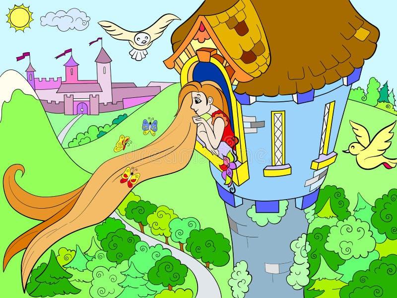 Princesa Rapunzel en la torre de piedra para el ejemplo del vector de la historieta de los niños ilustración del vector