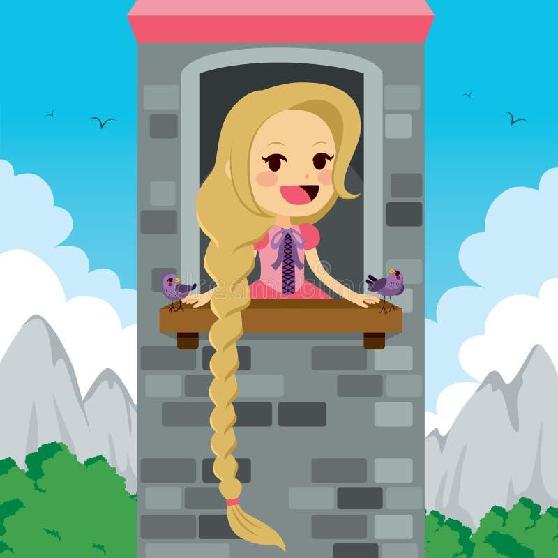 Princesa Rapunzel Tower stock de ilustración