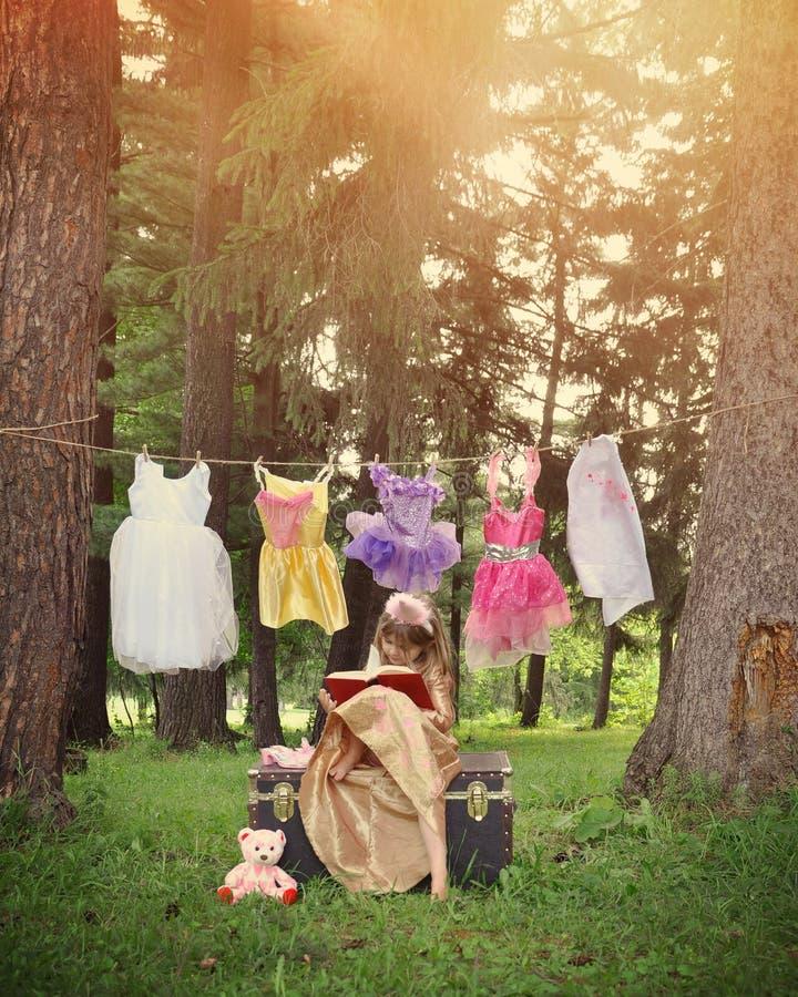 Princesa Reading Book nas madeiras com trajes imagens de stock