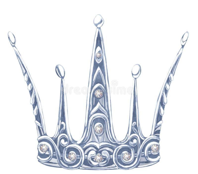 Princesa Real de plata de la acuarela con el fianit de las piedras preciosas stock de ilustración