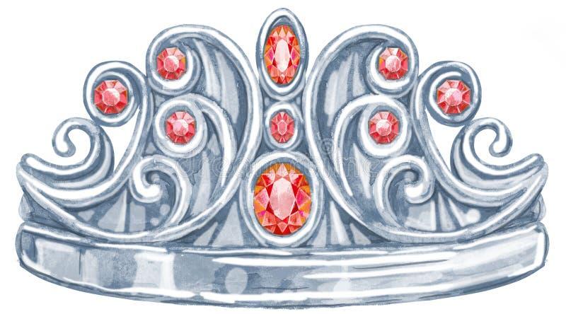 Princesa Real de plata de la acuarela con el rubí de las piedras preciosas libre illustration