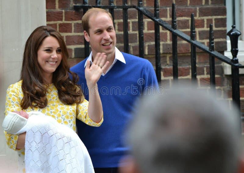 Princesa recién nacida del bebé de Duke Duchess Cambridge imagen de archivo libre de regalías
