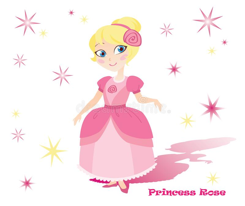 Princesa Rose no vestido cor-de-rosa com estrelas e sombra imagens de stock