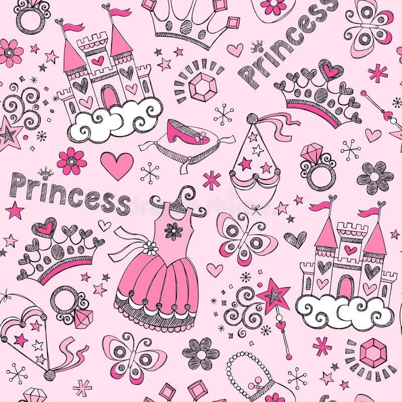 Princesa Seamless Pattern Sketchy Doodl do conto de fadas ilustração royalty free