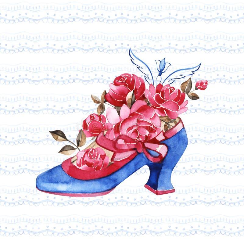 Princesa Shoe Illustration de la acuarela Zapatos azules del vintage con las cintas y las rosas rosadas imagen de archivo