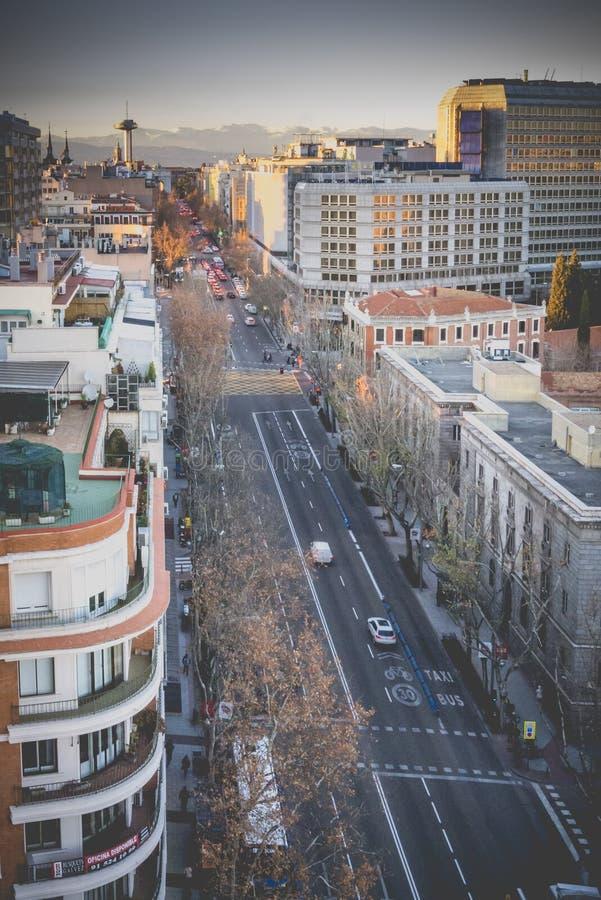 Princesa Street en Madrid, España fotografía de archivo
