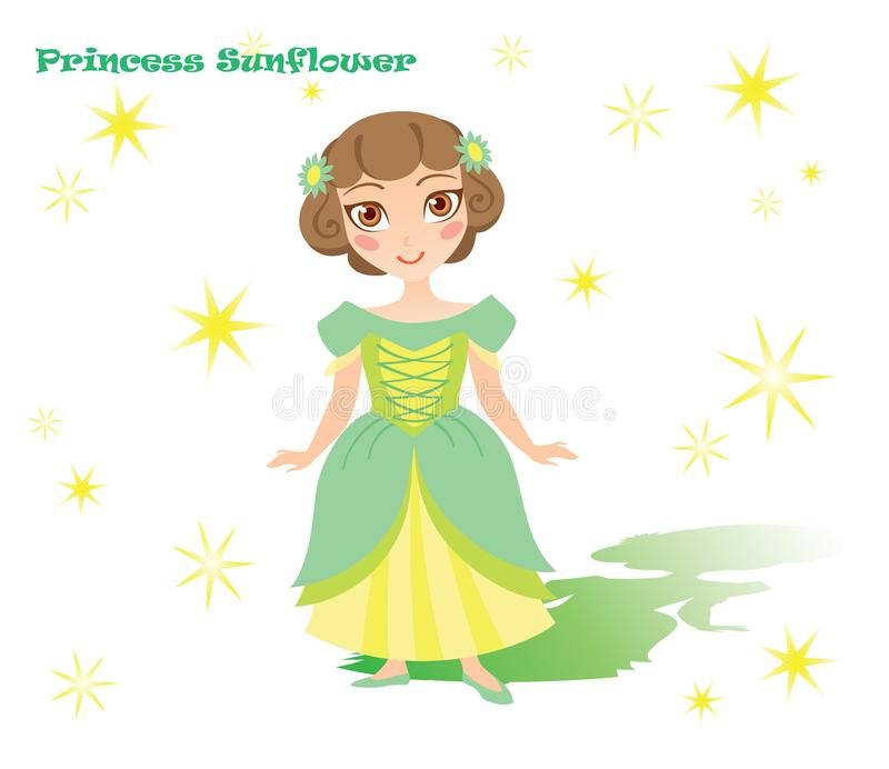 Princesa Sunflower com sombra e estrelas imagens de stock