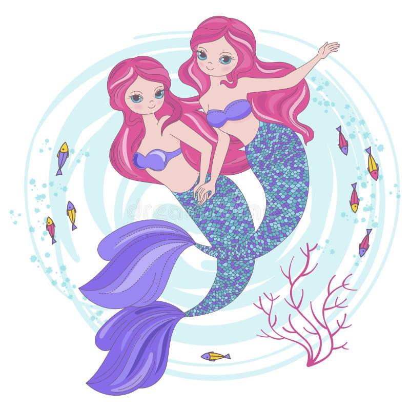 Princesa tropical Vetora Illustration Set dos desenhos animados das IRMÃS da SEREIA imagem de stock royalty free