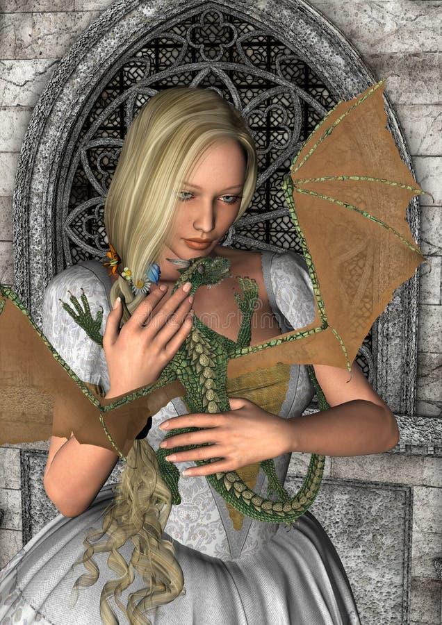 Princesa y dragón ilustración del vector
