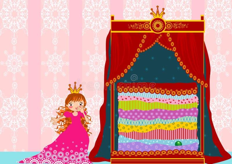 Princesa y el guisante stock de ilustración