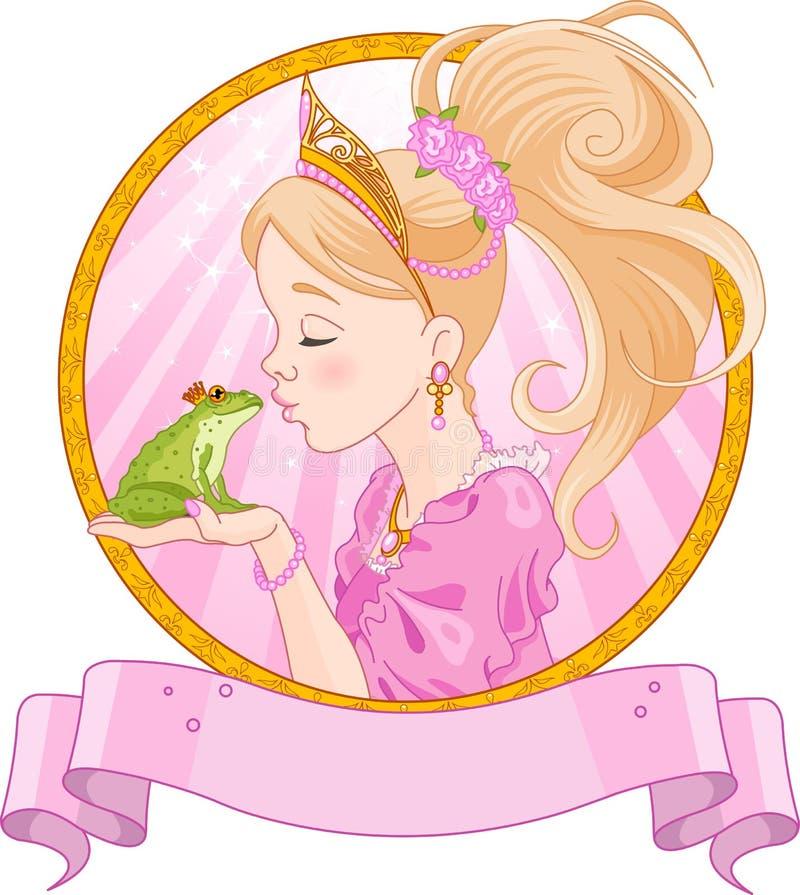 Princesa y rana stock de ilustración