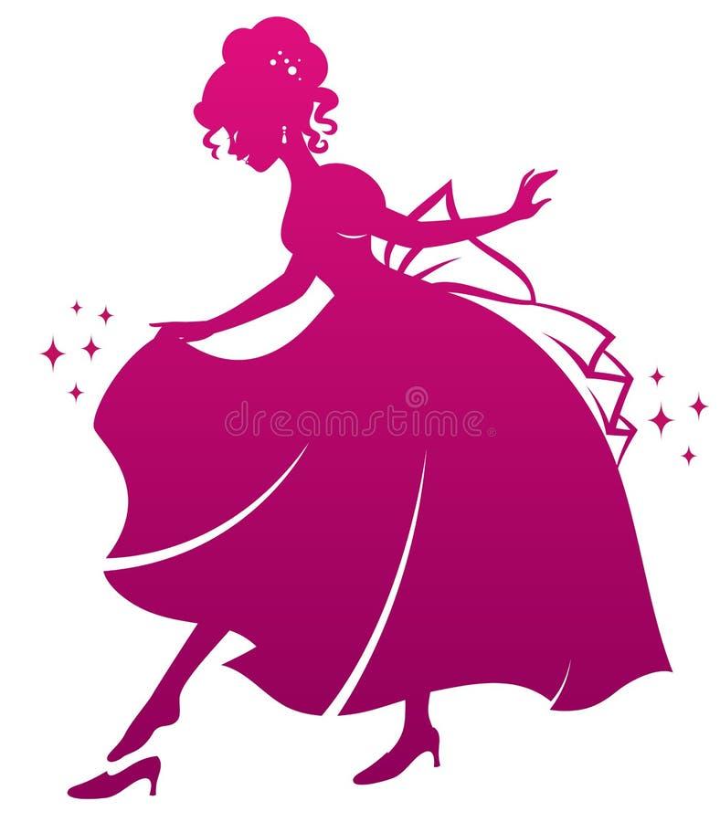 Princesa y su zapato stock de ilustración