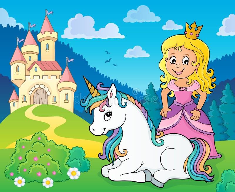 Princesa y unicornio cerca del tema 1 del castillo stock de ilustración