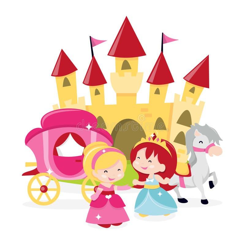 Princesas 'castelo dos desenhos animados ilustração royalty free