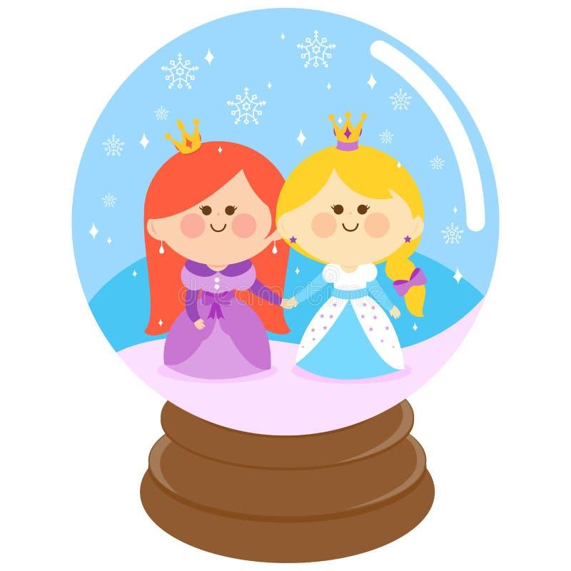 Princesas bonitas em um globo da neve ilustração stock