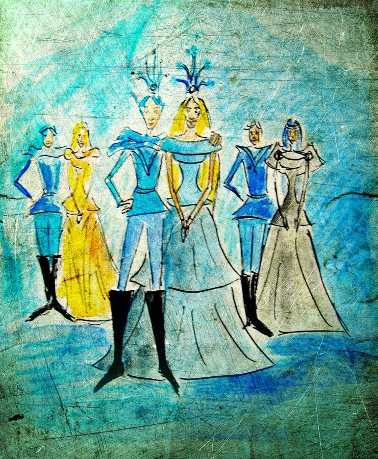 Princesas e príncipes ilustração do vetor