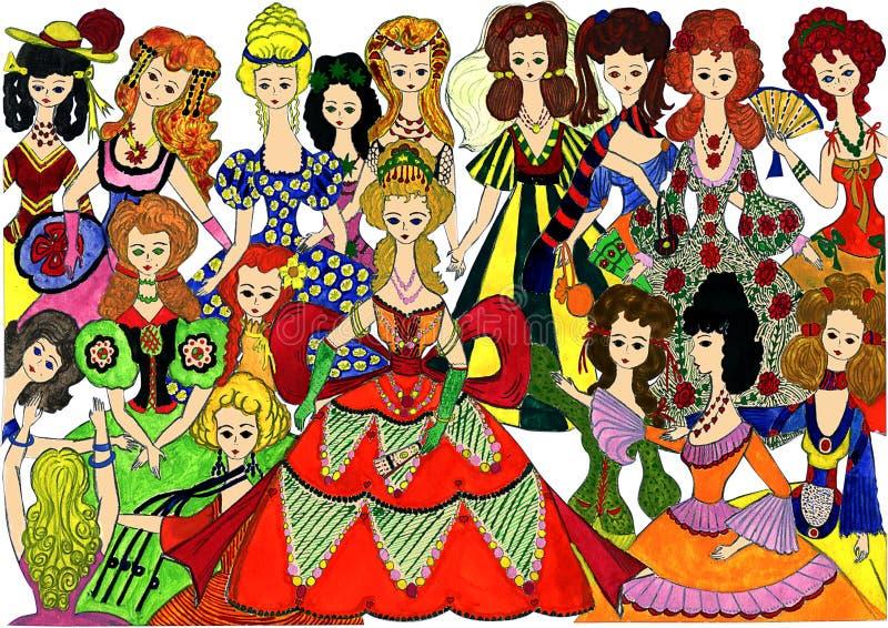 Princesas em uma bola Desenho da mão do `s da criança ilustração royalty free