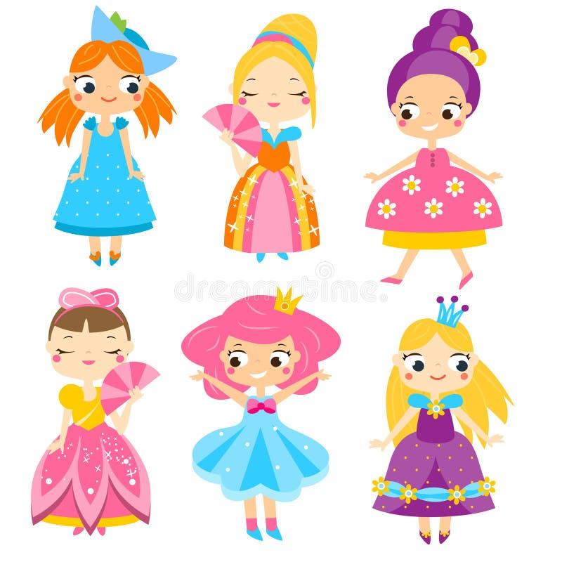 Princesas lindas fijadas Muchachas en vestidos de la reina Colección del vector de caracteres femeninos de la historieta ilustración del vector