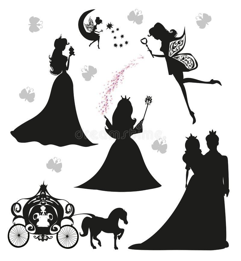 Princesas y hadas - sistema stock de ilustración