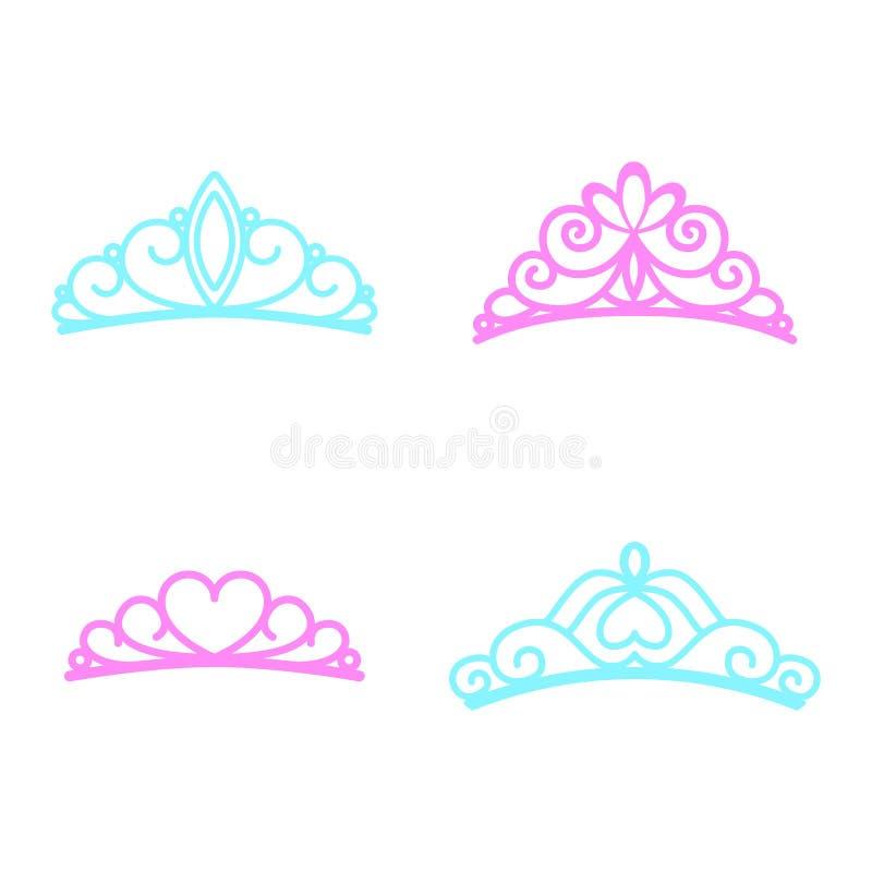 Princess Крона Принцесса Diadem Значки кроны также вектор иллюстрации притяжки corel Плоский стиль иллюстрация штока