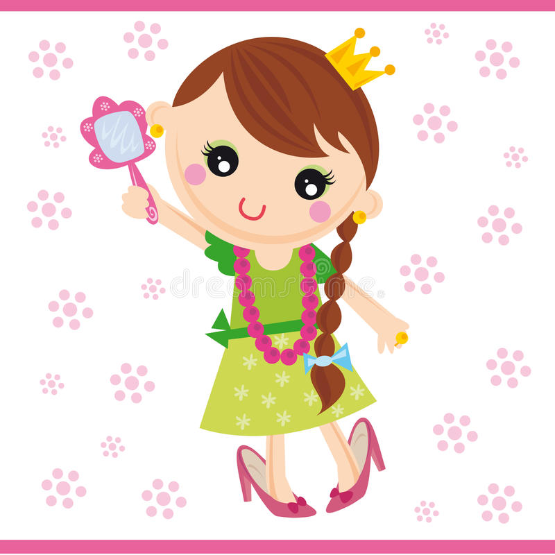 Princess. Illustration of little girl playing to be a princess