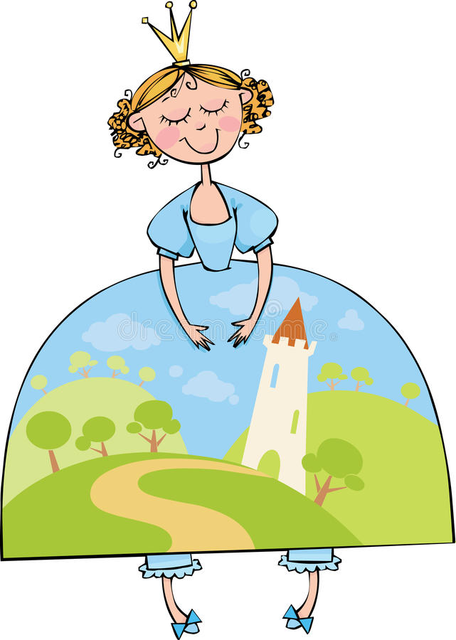 Princess. Beautiful princess in a blue dress with fairytale landscape stock illustration