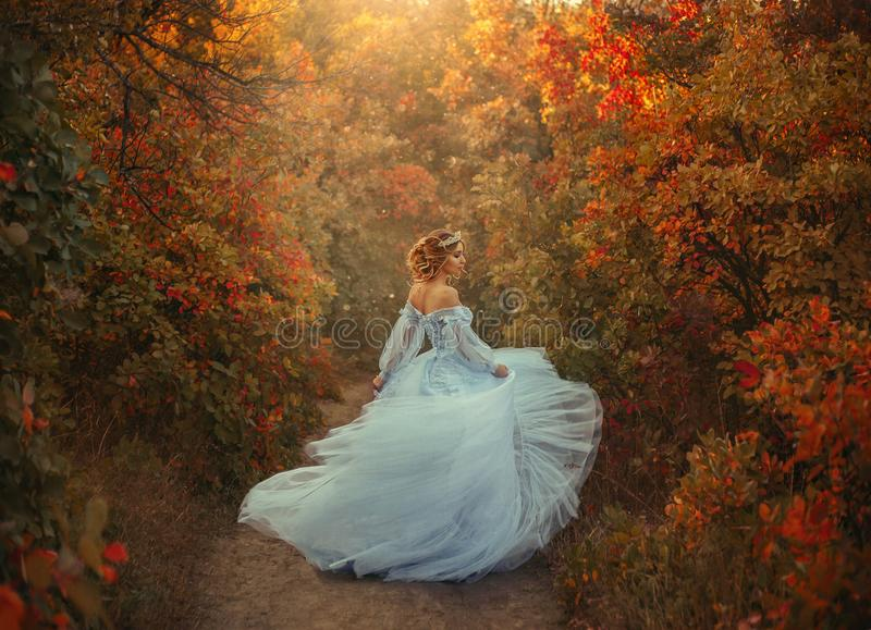Princess in the autumn garden. A young princess turns in a beautiful blue dress. The background is bright, golden autumn nature. Artistic Photography royalty free stock images