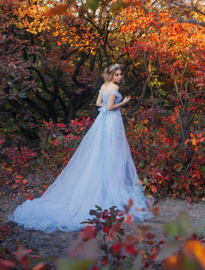 Princess in the autumn garden. A young princess walks in a beautiful blue dress. The background is bright, golden autumn nature. Artistic Photography stock photos
