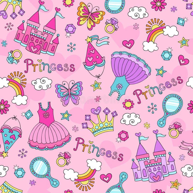 Princess bajka Doodles Bezszwowego Deseniowego Vecto ilustracja wektor