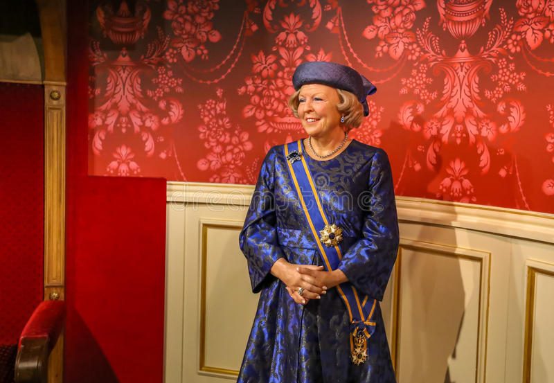 Princess Beatrix. Princess Beatrix in the Madame Tussauds museum. Madam Tussaud attraction, many tourists looking for it in Amsterdam. Place an unforgettable stock photography