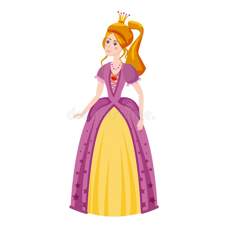 Princess is beautiful and sweet, in a beautiful dress with red hair, crown, tiara red heart diamond. Fairy tale, middle vector illustration