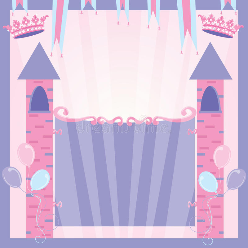 Princess Birthday Party Invitation Castle Stock Photos