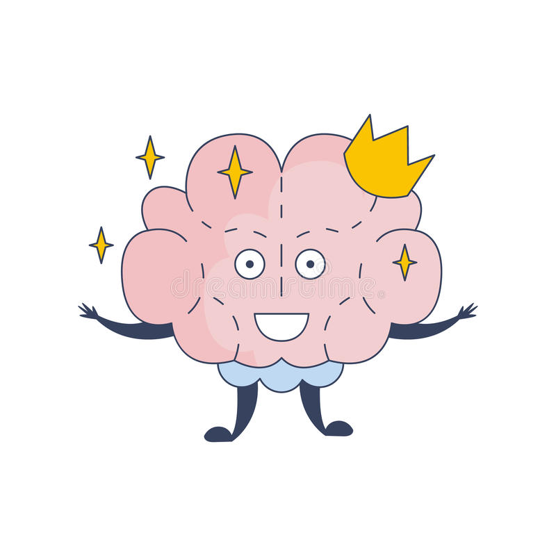 Princess Brain In Crown Comic Character Representing Intellect And Intellectual Activities Of Human Mind Cartoon Flat stock illustration