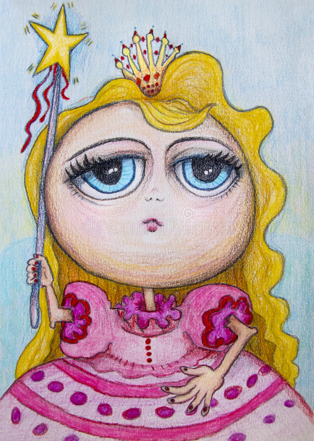 Princess cartoon drawing. A concept cartoon drawing a blonde girl princess with a star magic wand. This is a series of images stock illustration