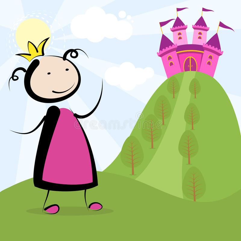 Princess and castle. Little princess looking to her castle stock illustration
