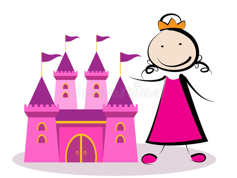 Princess with castle. Little princess playing with her castle royalty free illustration